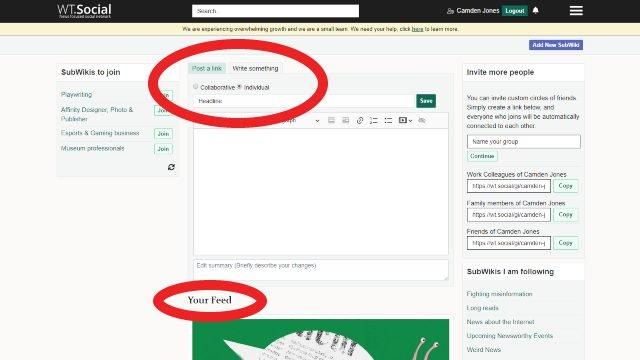 Come creare un aggiornamento dello stato dei post personali su WT.Social