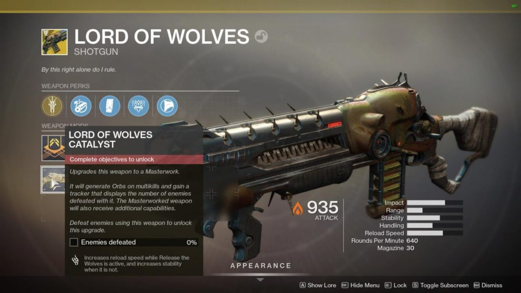 Come ottenere Lord of Wolves Exotic Catalyst in Destiny 2