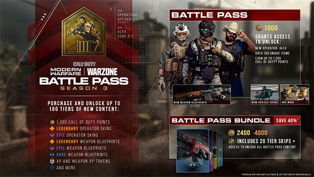 Premi War Superpass* di Modern Warfare Stagione 3
