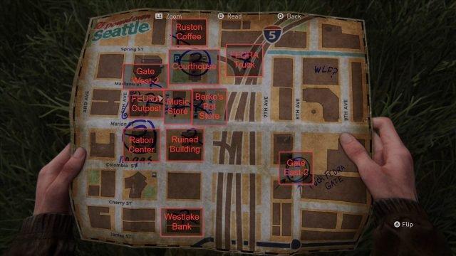 The Last of Us 2 Sightseer Trophy Downtown Mappa con etichetta
