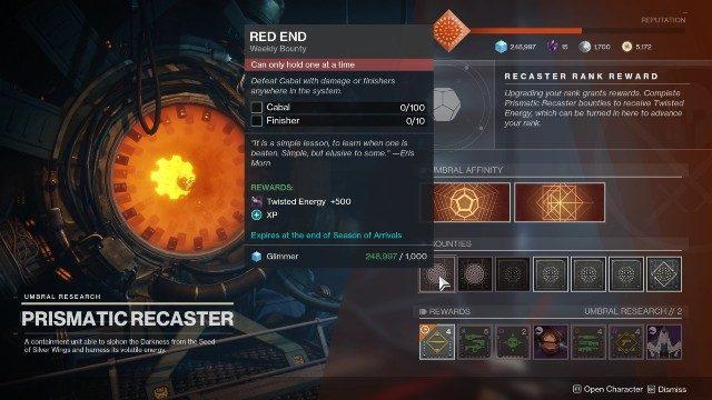 Destino 2 Twisted Energy Prismatic Recaster taglie