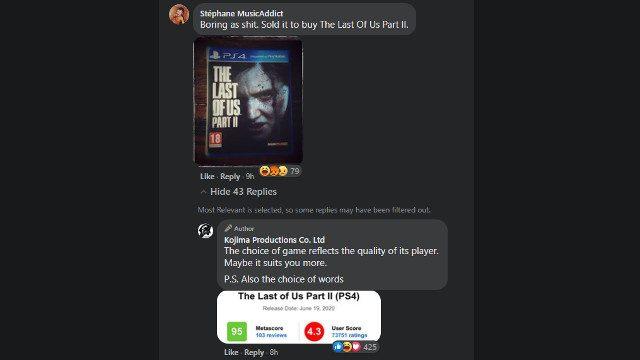 Kojima Productions The Last of Us 2 Commenti su Facebook