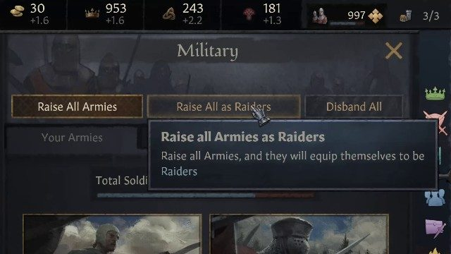 Crusader Kings 3 Raise Armies come Raiders