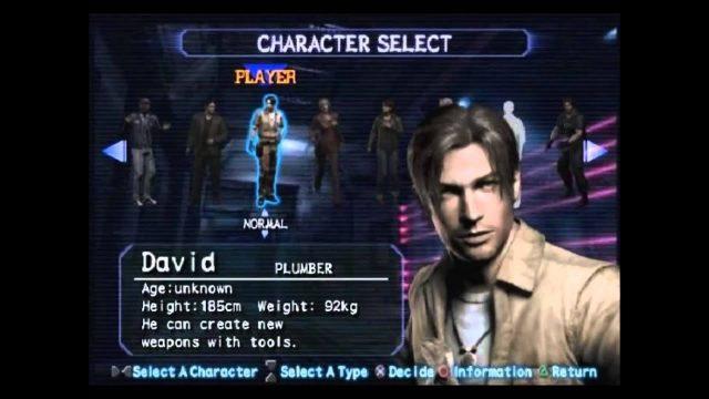 Selezione del personaggio di Resident Evil Outbreak
